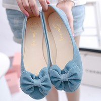 Ballet flats superstar shoes women 2017 new butterfly-knot flock slip-on square toe fashion summer shoes sapatos mulher