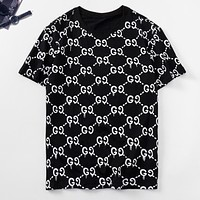 GUCCI New fashion more letter print couple top t-shirt Black