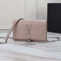 YSL SAINT LAURENT WOMEN'S CLASSIC LEATHER TASSEL CHAIN SHOULDER BAG