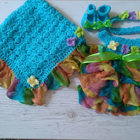 Baby Girl Coming home outfit in rainbow and turquoise newborn girl clothing set, hospital baby girl first outfit