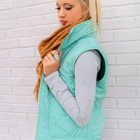 Winter Valley Resort Mint Puffer Vest