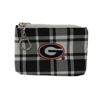 Get Ready Girls Womens Georgia Bulldogs Plaid Collegiate Coin Pouch/Purse