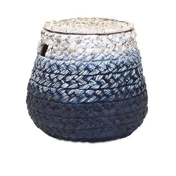 Ombre Blue Woven Water Hyacinth Basket