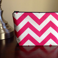 FREE SHIPPING Makeup bag, cosmetic case, zipper pouch, bridesmaid clutch - pink and white chevron