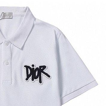 Dior embroidered letters polo short-sleeved T-shirt