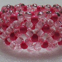 Kandi Beaded Stretchy Cuff Bracelet In Pale Pink Pony Beads