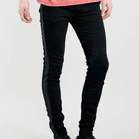 Black Leather Look Tux Stripe Spray On Jeans - Spray On Skinny Jeans - Clothing