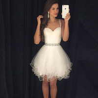 2016 Modest Prom Dresses Short White Homecoming Dresses Spaghetti Straps Beaded Crystals Ruffles Graduation Party Dress Real Pic