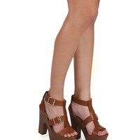 Tan Double Buckle Wedge Heel