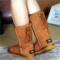 """UGG"" Women Fashion Wool Snow Boots lace up boots Chestnut"