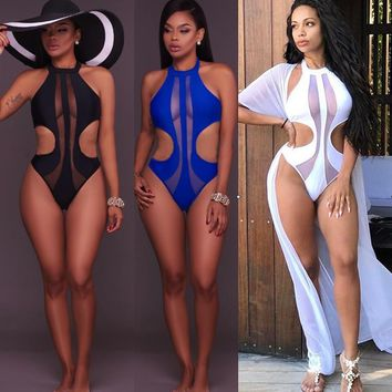 Summer Blue Black White Sleeveless Bodysuit Top Women Sexy Sheer Mesh Thong Bodysuit Floral Bodycon Body Suit Leotard Top Outfit