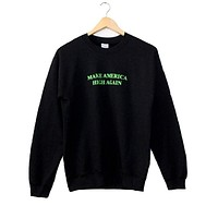 Make America High Again Black Graphic Crewneck Sweatshirt
