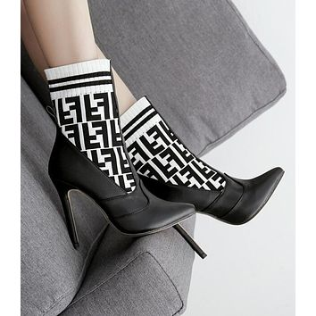 """""""FENDI"""" Autumn Winter Newest Trending Woman Stylish F Letter Knit Socks Boots Pointed High-Heeled Shoes White/Black"""