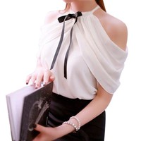 Summer Style Halter Neck Bowknot White Shirts Elegant Women Sexy Off Shoulder Blouses Casual Slim Chiffon Tops