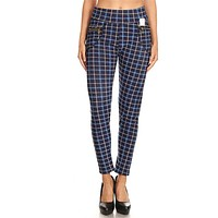 Women's High Waisted Plaid Winter Pants with Fur Lining and Pockets