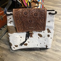 Cowhide Backpack with Tooled Top