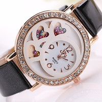 Women's Fashion Casual Rhinestone Synthetic Leather Wrist Watch = 1956405892