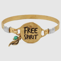 Free Spirit Gold Cuff With Feather
