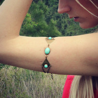 triangle turquoise geometric armlet, upper arm chain, body chain, unique jewelry