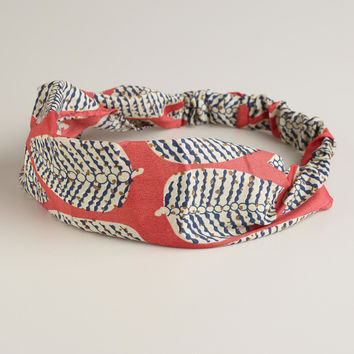 Coral and Blue Leaf Soft Headband - World Market