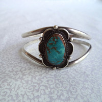 Boho jewelry/ turquoise and silver vintage cuff bracelet/Native American style bracelet/stamped M. Fowler