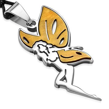 Stainless Steel 2-tone Fairy Butterfly wings Charm Pendant with adjustable Black cord.
