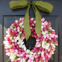 Tulips Spring Wreath- Spring Decor- Gift for Her- Mothers Day Gift- Easter Wreath- Outdoor Wreath- Burlap Wreath