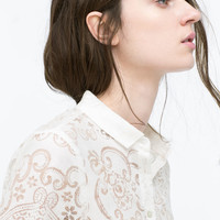 Lace shirt with pockets