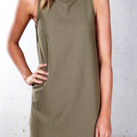 Women's Olive Green Mock Neck Sleeveless High Neck Dress Casual Dress