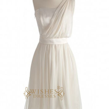 A-line One-shoulder Ivory Chiffon Short Bridesmaid Dresses AM340