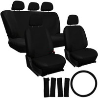 OxGord 17pc Leatherette Seat Cover Set, Airbag Compatible, for DODGE CALIBER, Black