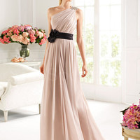 Tempting A-line One-shoulder Floor Length Chiffon Prom Dress from SinoSpecial