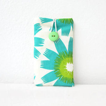 Iphone case, hand printed fabric, cell phone sleeve, blue iphone cover, Iphone 5s 5c 4s, samsung galaxy s2, handmade in the UK
