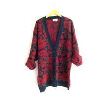 long floral cardigan sweater  // floral sweater / women's plus size