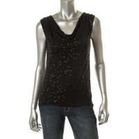 Charter Club Womens Sequined Drape Neck Pullover Top