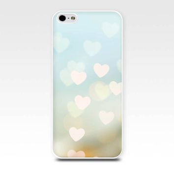 abstract iphone case iphone 5s case iphone 4s hearts iphone case bokeh iphone 4 case 5 iphone pastel case fine art iphone blue gold girly
