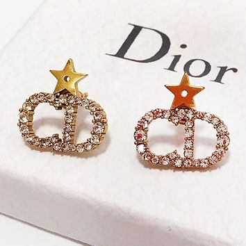 DIOR Fashion Women Star Diamond Stud Earrings Jewelry Accessories
