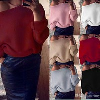 Sweet Women's Girl's Spring Autum Tops Blouses Shirts 7 Color Knitting Sweater Cotton Slash Neck Jumper Batwing Loose Pullover Free Shipping