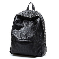 PU Leather Rock Punk Cool Skull Rivet Backpack School Shoulder Book Bag on eBay!