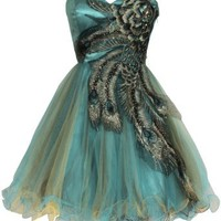 Metallic Peacock Embroidered Holiday Party Prom Dress Junior Plus Size: Clothing