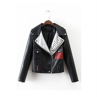 2016 Trending Fashion Leather Mixed Color Women  Sweater Cardigan Coat Jacket Outerwear _ 9844