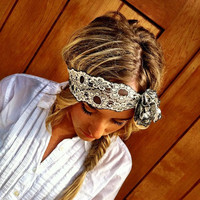 Stretchy Lace Headbands - Gray & Ivory Stretch Lace with Lacey Flower wedding vintage head band (HLF-01)