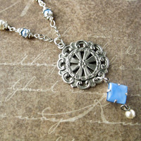 Victorian Style, Antiqued Silver Medallion Vintage Blue Glass Drop Pearl Necklace