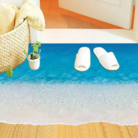 Creative Sea Beach Floor Stickers DIY 3D Ground Decal for Bathroom Kid's Bedroom Home Decorations PVC Waterproof Wall Stickers