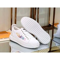 LV 2019 new TIME OUT rainbow letter embossed women's sneakers white