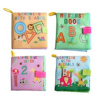 New Baby Washable Soft Cloth Book Toys Infant Kids Early Educatioal Rattle Toy Geometry/Letter/Number/Animal Learning Books