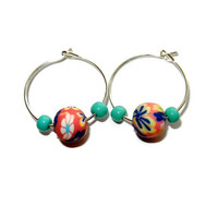 Pink and Turquoise Polymer Clay Hoop Earrings