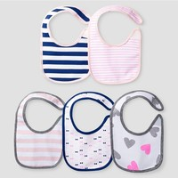Baby Girls' 5 Pack Bib Set Baby Cat & Jack™ - Pink/Navy : Target