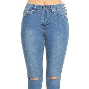 High Rise Ripped Knee Ankle Length Skinny Denim Jeans