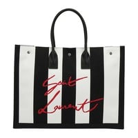 Black White and Red Signature Tote Bag by Saint Laurent